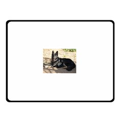 Black German Shepherd Laying Double Sided Fleece Blanket (small)