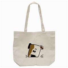 Peeping Bulldog Tote Bag (Cream)