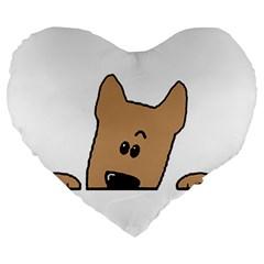 Peeping Yorkshire terrier Large 19  Premium Flano Heart Shape Cushions