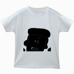 Peeping Black  Poodle Kids White T-Shirts