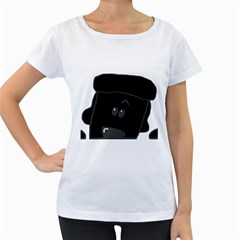 Peeping Black  Poodle Women s Loose-Fit T-Shirt (White)