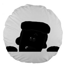 Peeping Black  Poodle Large 18  Premium Flano Round Cushions