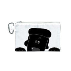 Peeping Black  Poodle Canvas Cosmetic Bag (S)