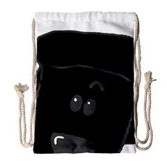 Peeping Black  Poodle Drawstring Bag (Large)