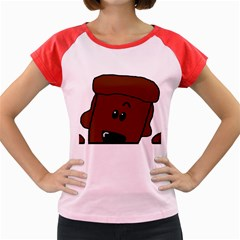 Peeping Chocolate Poodle Women s Cap Sleeve T-Shirt