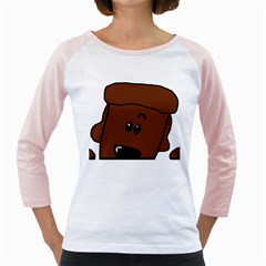 Peeping Chocolate Poodle Girly Raglans
