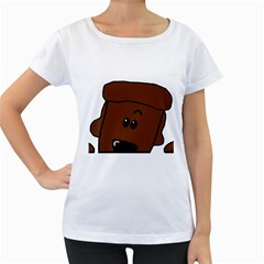 Peeping Chocolate Poodle Women s Loose-Fit T-Shirt (White)