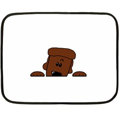 Peeping Chocolate Poodle Fleece Blanket (Mini)