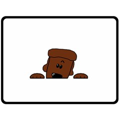 Peeping Chocolate Poodle Fleece Blanket (Large)