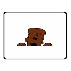 Peeping Chocolate Poodle Fleece Blanket (Small)