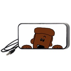Peeping Chocolate Poodle Portable Speaker (Black)