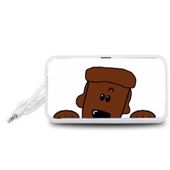 Peeping Chocolate Poodle Portable Speaker (White)