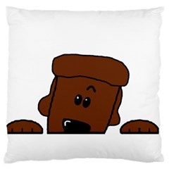 Peeping Chocolate Poodle Large Flano Cushion Cases (One Side)