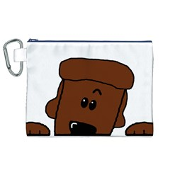 Peeping Chocolate Poodle Canvas Cosmetic Bag (XL)