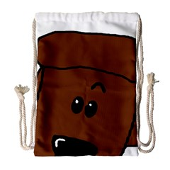 Peeping Chocolate Poodle Drawstring Bag (Large)
