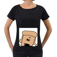 Peeping Peach Poodle Women s Loose-Fit T-Shirt (Black)