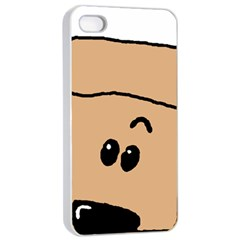 Peeping Peach Poodle Apple iPhone 4/4s Seamless Case (White)
