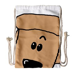 Peeping Peach Poodle Drawstring Bag (Large)