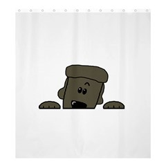 Peeping Silver  Poodle Shower Curtain 66  x 72  (Large)