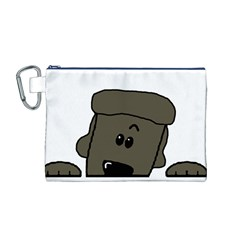 Peeping Silver  Poodle Canvas Cosmetic Bag (M)