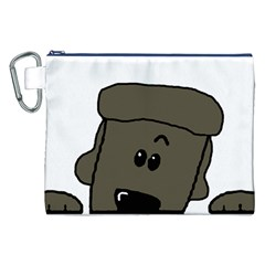 Peeping Silver  Poodle Canvas Cosmetic Bag (xxl)