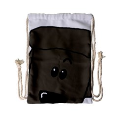 Peeping Silver  Poodle Drawstring Bag (Small)