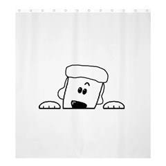 Peeping White Poodle Shower Curtain 66  x 72  (Large)