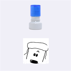 Peeping White Poodle Rubber Round Stamps (Small)