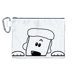 Peeping White Poodle Canvas Cosmetic Bag (L)