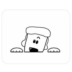Peeping White Poodle Double Sided Flano Blanket (Medium)
