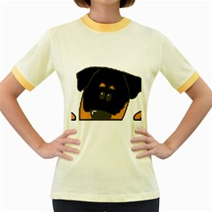Peeping Rottweiler Women s Fitted Ringer T-Shirts