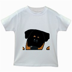 Peeping Rottweiler Kids White T-Shirts