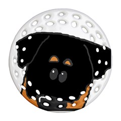 Peeping Rottweiler Round Filigree Ornament (2Side)