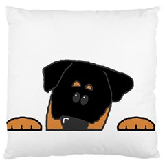 Peeping Rottweiler Large Flano Cushion Cases (Two Sides)