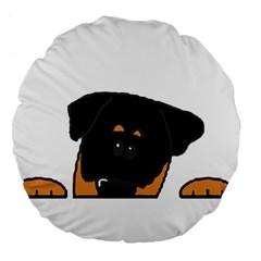 Peeping Rottweiler Large 18  Premium Flano Round Cushions