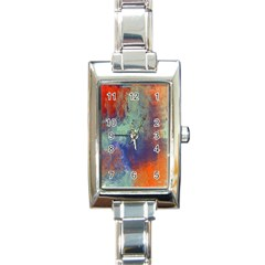 Abstract In Green, Orange, And Blue Rectangle Italian Charm Watches