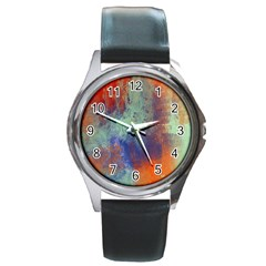 Abstract In Green, Orange, And Blue Round Metal Watches