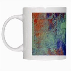Abstract In Green, Orange, And Blue White Mugs