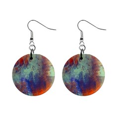Abstract in Green, Orange, and Blue Mini Button Earrings