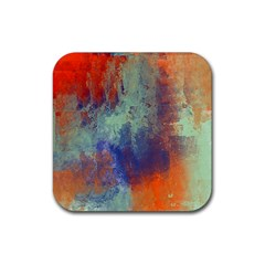 Abstract In Green, Orange, And Blue Rubber Square Coaster (4 Pack)