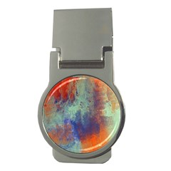 Abstract In Green, Orange, And Blue Money Clips (round)