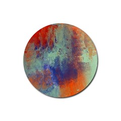 Abstract in Green, Orange, and Blue Rubber Round Coaster (4 pack)