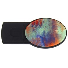 Abstract in Green, Orange, and Blue USB Flash Drive Oval (2 GB)