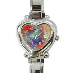 Abstract in Green, Orange, and Blue Heart Italian Charm Watch