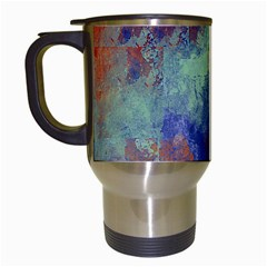 Abstract in Green, Orange, and Blue Travel Mugs (White)