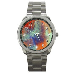 Abstract In Green, Orange, And Blue Sport Metal Watches
