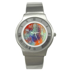 Abstract In Green, Orange, And Blue Stainless Steel Watches