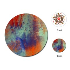 Abstract In Green, Orange, And Blue Playing Cards (round)