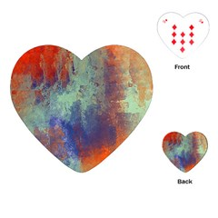 Abstract in Green, Orange, and Blue Playing Cards (Heart)