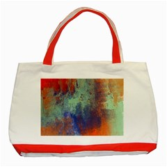 Abstract In Green, Orange, And Blue Classic Tote Bag (red)